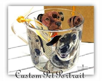 Custom Pet Portrait - 4 pets (head & shoulders), Custom Dog Mug, Cat Mug, Hand Painted Coffee Mug, Gift For Dog Lover, Gift For Cat Lover