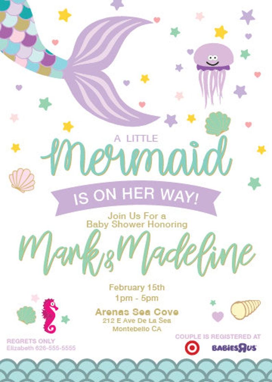 graphic regarding Printable Mermaid Baby Shower Invitations known as Printable Mermaid Youngster Shower Invitation Pastel Mermaid Invites  Woman Little one Shower Invites