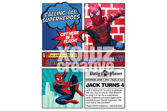 superhero invitation spiderman birthday invitations etsy