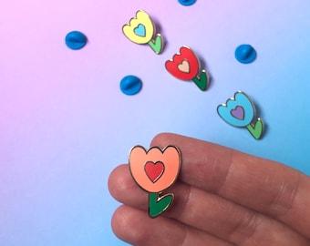 Self care enamel pin, Tulip enamel badge, floral enamel pin, self love gift, friendship token gift idea