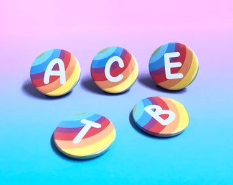 Rainbow initial magnet, rainbow letter badge, cute button badge, letter fridge magnet, kids button badge, party bag filler, LGBT