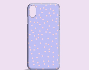 Lilac confetti iPhone 11 Pro case, iPhone 12, iPhone X, iPhone 8, confetti iPhone 7, iPhone SE 2020, iPhone XR, polkadots Samsung S10, S9