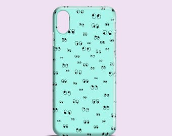 Minty Googly eyes iPhone SE 2020 case, iPhone 12 Pro, iPhone XR case, iPhone X, iPhone 8, iPhone 7 Plus, iPhone 7,  Samsung S10, S9, S8, S7