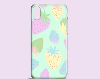 Pastel Strawberries iPhone SE 2020 case, iPhone 12 Pro, iPhone XR, Pastel iPhone 8, iPhone 8 Plus, graphic iPhone 7, iPhone 11 Pro