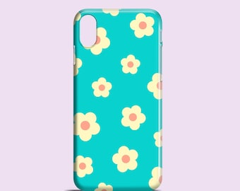 Funky Floral iPhone 11 case, iPhone 12, iPhone X, XR, XS, turquoise iPhone 8, daisy iPhone 7 case, iPhone SE 2020, Samsung S10, S9, S8, S7