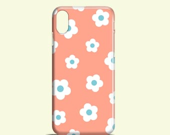 Retro Floral iPhone 12, iPhone XR, iPhone X, iPhone 11, iPhone 8, retro iPhone 7 case, daisy iPhone 7 Plus, iPhone SE 2020, Samsung S10, S9