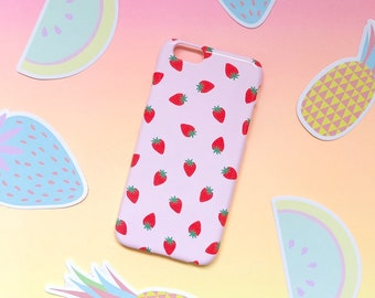 Pink Strawberries iPhone SE 2020 case, iPhone 12, Cute iPhone X, iPhone 8, iPhone 7, iPhone 7 Plus, iPhone 6 iPhone, Samsung S10, S9, S8