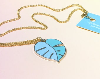 Minty Monstera enamel necklace, plant lady gift, leaf pendant, secret Santa gift, green pendant necklace