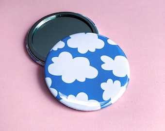 Clouds pocket mirror,  blue pocket mirror, cute round mirror, colourful accessory, secret Santa gift idea