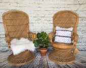 SHIPPING NOT FREE Set of 2Vintage Rattan Peacock Chairs Wedding Chairs Baby Shower Chairs