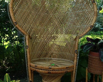 Peacock Chair Wicker Boho Decor Bamboo Rattan Eclectic, WorldofWicker, LOCAL P/U  Prospect Heights, Il (Chicago area) or Your Shipper.
