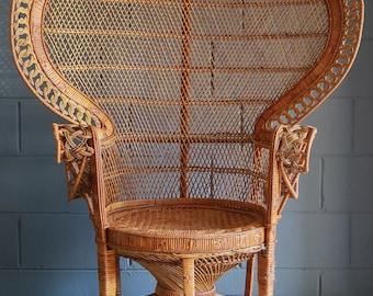Vintage Emmanuel Peacock Chair, wicker high back fan, rattan, mid century, bohemian, boho, LOCAL P/U Chicago, Il area or Your Shipper