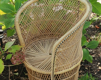 Peacock Wicker Rattan Fan Chair/ Barrel Wicker Chair/ Accent chairs/ Dining room chairs/ LOCAL P/U Chicago, Il area or your Shipper!!!