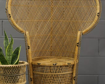 Vintage Peacock Chair (have 2 of them) wicker high back fan, mid century, bohemian, boho/  LOCAL P/U Chicago, Il area or Your Shipper