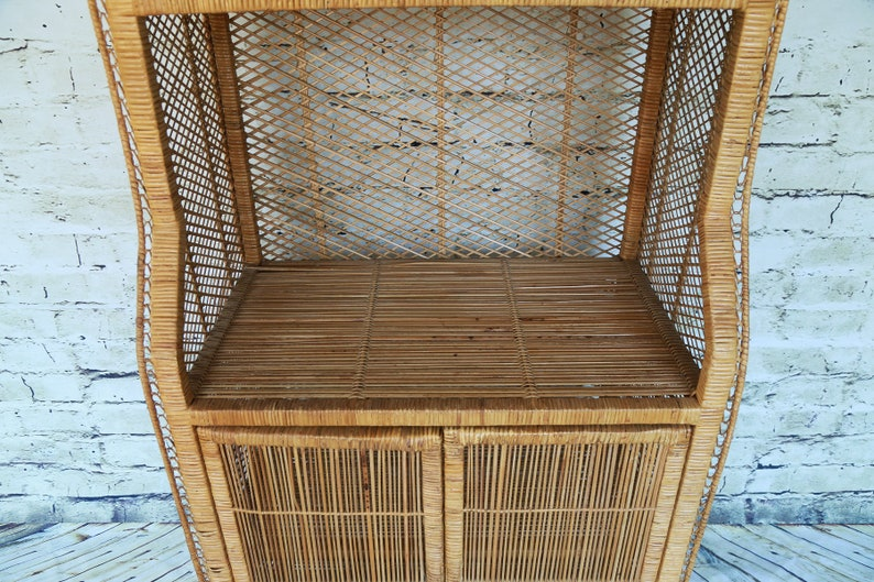 SHIPPING NOT FREE!!!Vintage Rattan Cabinet Wicker HutchEtagere Shelving CabinetBookcase