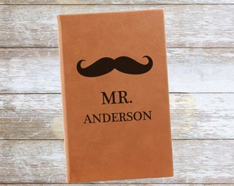 Personalized Mr. Mustache Leatherette Journal ,Engraved,Lined,
