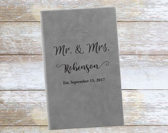 Personalized Mr & Mrs Wedding and Date Leatherette Journal,Engraved,Lined,