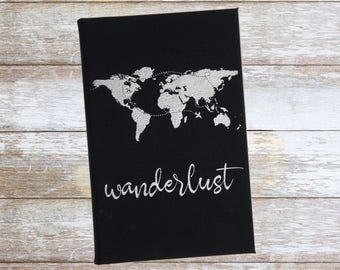 Personalized Wanderlust Journal,Engraved,Lined Journal, Personalized Notebook,Customized Chritmas Gift,Custom Leatherette Journal