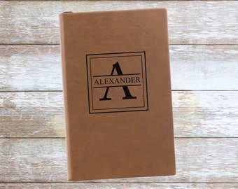 Personalized Name and Initial Leatherette Journal ,Engraved,Lined,