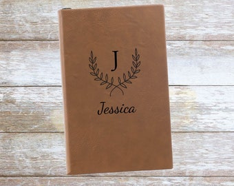 Personalized Reef Leatherette Journal with Name and Initial ,Engraved,Lined,