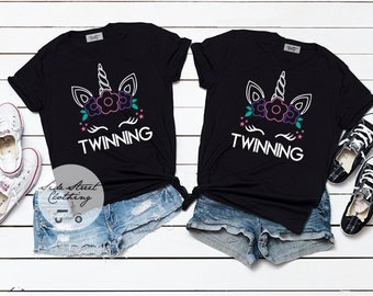 ea2ff237 Twinning Unicorn T shirt set- baby, toddler, youth, Adult, twins, best  friends, funny, sisters, friendship, birthday gift, bestie