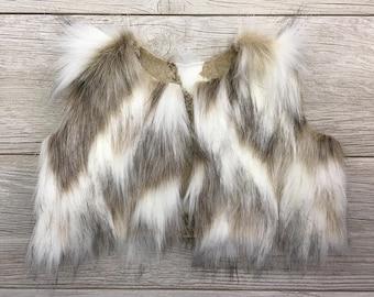 Fur Vest for baby/toddler - Faux fox fur in Beige