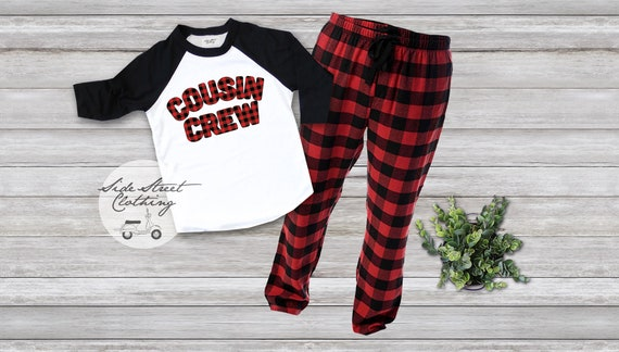 Cousin Crew Raglan T shirt and Plaid Pant set Adult sizes  7003ab879