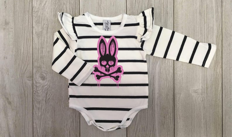 Black and white stripe long sleeve bodysuit with dripping bunny and cross bones hand printed baby girls Easter punk toddler leotard
