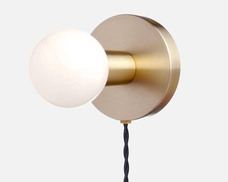 Minimal wall sconce plug in light solid brass modern etsy