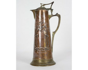 Wmf Copper And Brass Jug ~ Decanter ~ Pitcher~tankard~ Ostrich~hammered Antiques Periods & Styles