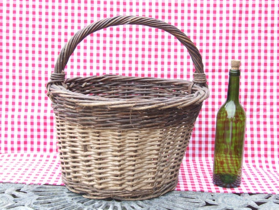 Large French Mushroom Collecting Wicker Basket//Ha