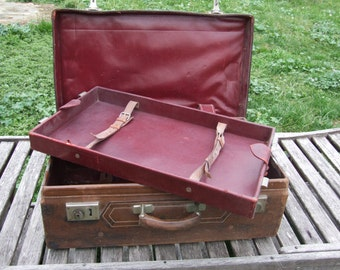 Suitcase Leather // Steam Trunk // Large Antique French Suitcase // With Lift out Compartment