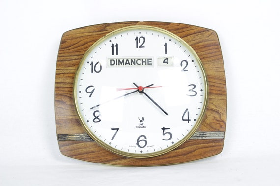 Mid Century Jaz Wall Clock With Day And Date In French Etsy