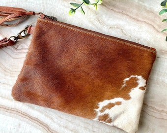 5 X 9 Genuine Black White Peppered Brazilian Cowhide Small Lined Wrist Purse Black and White Salt Pepper Cowhide and Leather Wristlet Bag