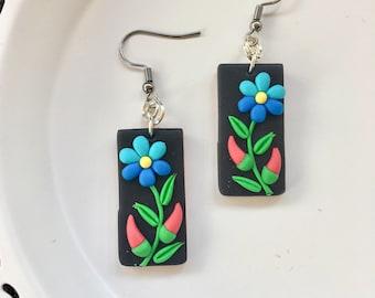 Hungarian Folk Motif Jewelry Earrings,Rectangle,Polymer Clay Jewelry Earrings,Kalocsai Motif Earrings,Black,Polymer Clay Earrings,Black