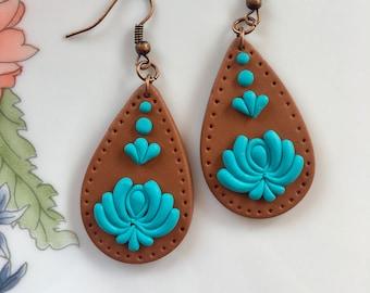 Hungarian Folk Motif Jewelry Earrings,Copper-Turquoise,Polymer Clay Jewelry Earrings,Kalocsai Motif Earrings,Unique Jewelry
