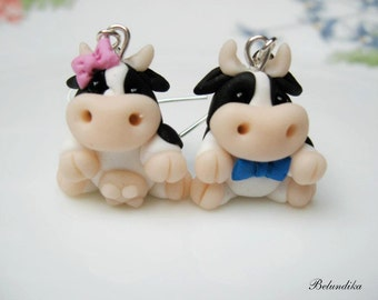 Cow,Black and white cow pair,polymer clay earrings