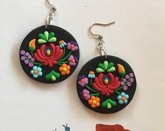 Hungarian Folk Motif Jewelry Earrings,Polymer Clay Jewelry Earrings,Kalocsai Motif Earrings,Black,Polymer Clay Earrings,Black