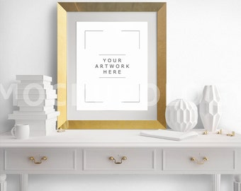 Download Free 8x10 Vertical DIGITAL Gold Frame Poster Mockup, Wooden French Serving Desk Mockup, Styled Photography White Wall Mockup, INSTANT DOWNLOAD PSD Template