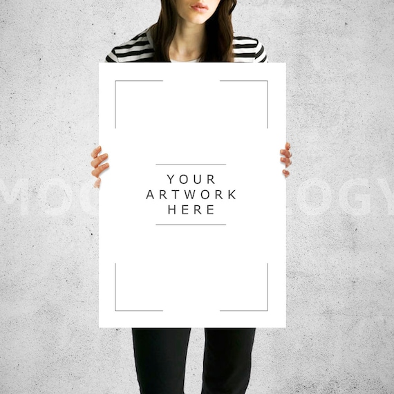 A3 A1 Vertical Paper Mockup Girl Holding Poster Mockup