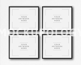 Download Free 8x10 16x20 24x30 Set of Four Horizontal DIGITAL Black Frame on White Plain Wall Background Mockup, Styled Photography, INSTANT DOWNLOAD PSD Template