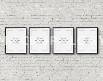 Download Free 8x10 16x20 24x30 Set of Four Vertical DIGITAL Black Frame Mockup, Styled Photography Poster Mockup, White Brick Background, INSTANT DOWNLOAD PSD Template