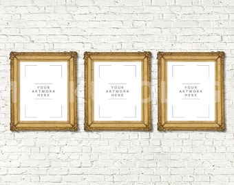 Download Free 8x10 16x20 24x30 Set of Three Vertical DIGITAL Gold Frame Mockup, Styled Photography Poster Mockup, White Brick Tryptich, INSTANT DOWNLOAD PSD Template
