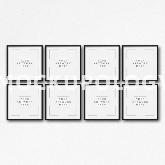 Conjunto de ocho maqueta Digital marco negro sobre fondo de