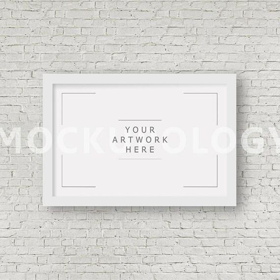 Styled Photography Mockup Black Frame Mockup on White Brick Wall Background DIGITAL FILE DOWNLOAD 11x17 Digital Frame Mockup