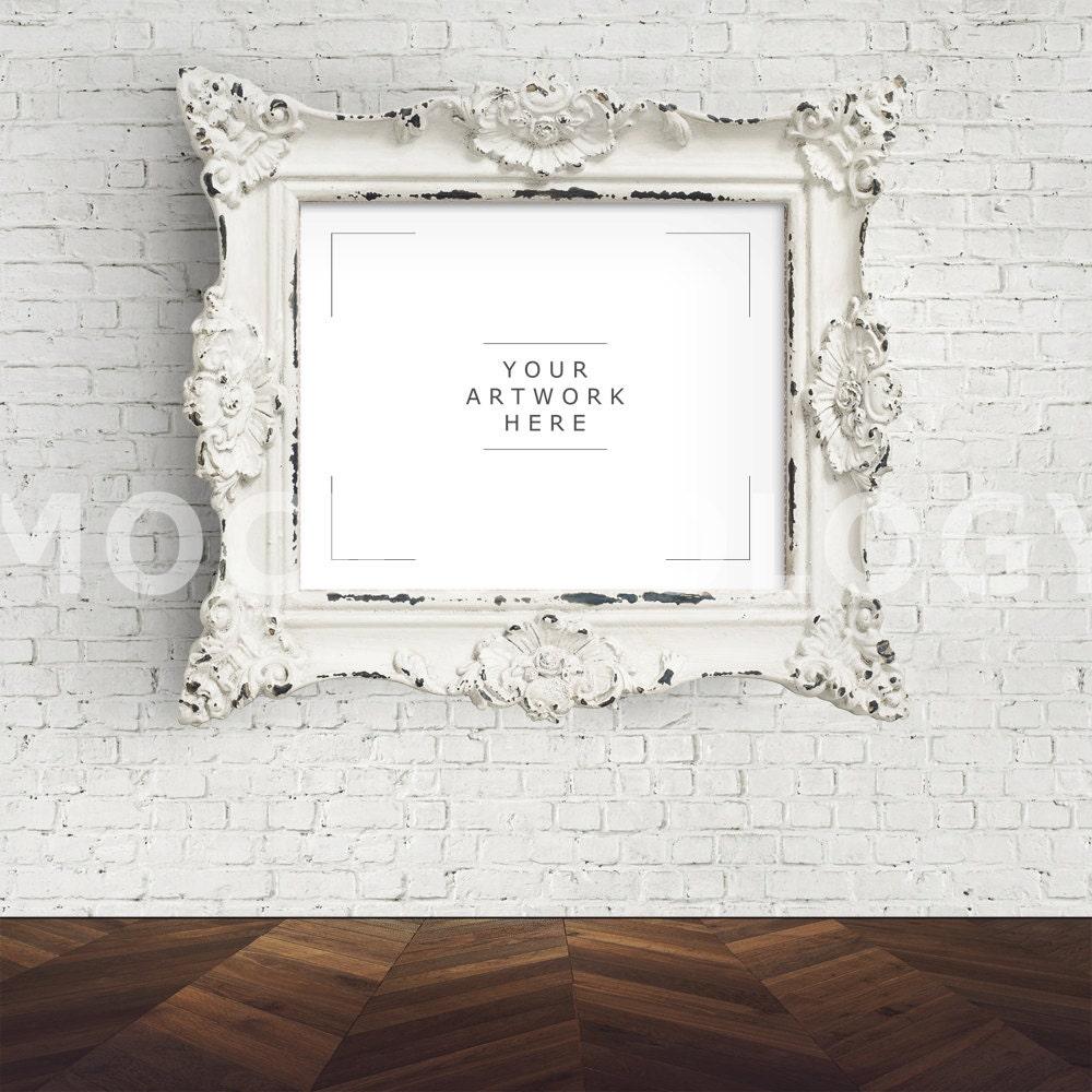 8 x 10 digitale Datei Mockup für weiß Barock-Rahmen Mockup | Etsy
