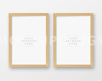 Set of two A4 Vertical DIGITAL Natural Wood Frames Mockup, Light Oak Barnwood Frame on White Wall Background, INSTANT DOWNLOAD