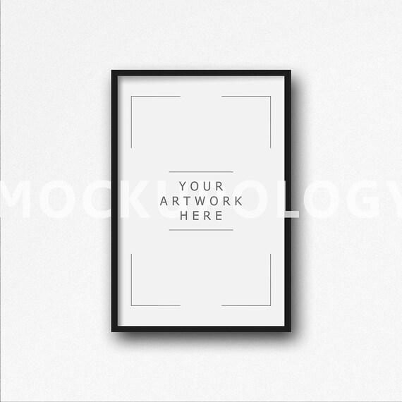 Maqueta de 8 x 12 Vertical DIGITAL marco negro sobre fondo de | Etsy