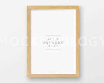 A4 Vertical DIGITAL Natural Wood Frame Mockup, Light Oak Barnwood Frame on White Wall Background, INSTANT DOWNLOAD