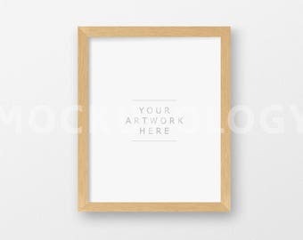8x10 16x20 20x24 Vertical DIGITAL Natural Wood Frame Mockup, Light Oak Barnwood Frame on White Wall Background, INSTANT DOWNLOAD